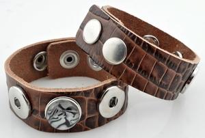 Leren armband bruin slangenprint, pols 17,5-19,5-21,5 cm