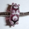 Transparant paars met roze vlekken en paars stipje
