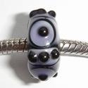 Zwart met paarse vlekken, kringen en stipjes
