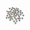 Zilveren spacer 7 bolletjes plat