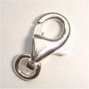 Zilveren karabijnhaak plat 9 mm