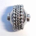 Zilveren kraal met spiraaltjes en nopjes