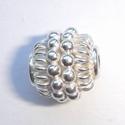 Zilveren kraaltje met 2 spiraaltjes nopjes, glanzend