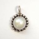 Zilveren hangertje met witte parel en een ring van nopjes