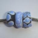 Transparant grijs met lichtblauw en wit, 3 kralen