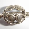 Zilveren kraal open met rondjes