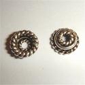Zilveren kralenkapje twee spiraaltjes