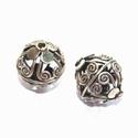 Zilveren opengewerkte kraal met spiraaltjes