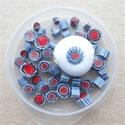 Murrini in rood, zachtblauw, blauw en wit