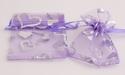 Organza cadeauzakje paars met zilveren hartjes