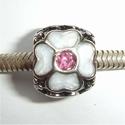 Emaille bloemen met roze zirconia