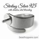 Sterling zilver ring glad, verstelbaar, schroefdraad 2,5 mm
